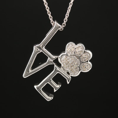 "Sterling Silver Diamond ""Love"" and Paw Print Pendant Necklace"