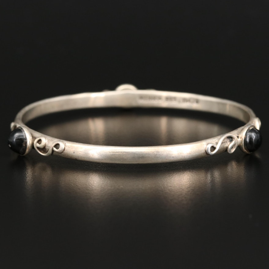 Sterling Silver Glass Station Bangle