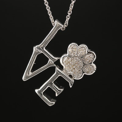"Sterling Silver Diamond ""Love"" and Paw Print Necklace"