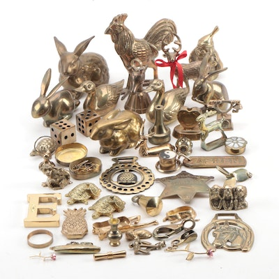 Brass Animal Figurines and Other Hanging Souvenir Decor