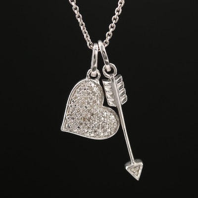 Sterling Silver Heart and Arrow Diamond Pendant Necklace
