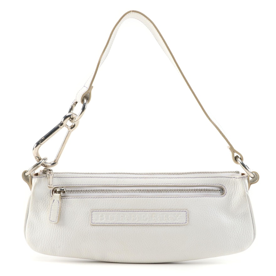 """Burberry White Leather Shoulder Bag with """"House Check"""" Lining"""