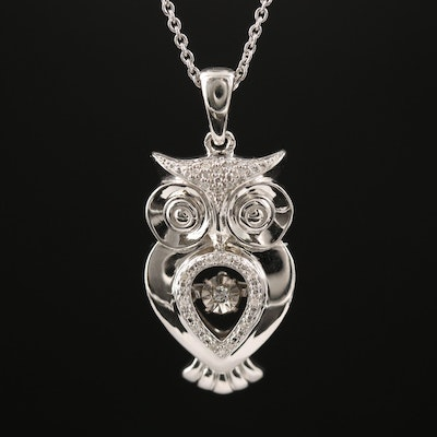 Sterling Silver Diamond Owl Necklace with Floating Diamond Accent