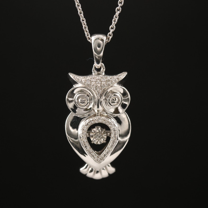Sterling Silver Diamond Owl Pendant with Floating Diamond Necklace