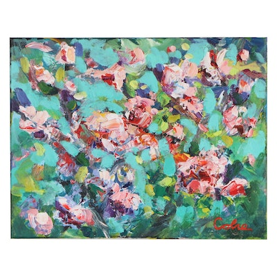 Amelia Colne Acrylic Painting of Abstract Flowers, 21st Century