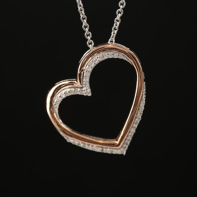 Sterling Silver Diamond Open Heart Pendant Necklace