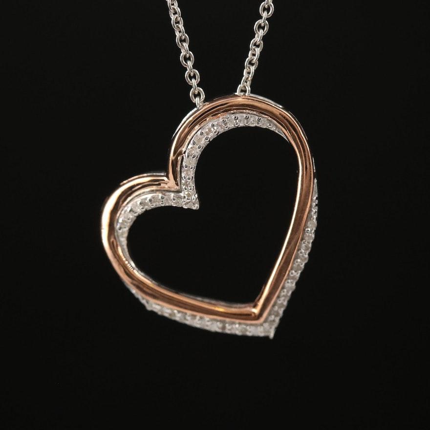 Sterling Silver Diamond Open Heart Pendant Necklace