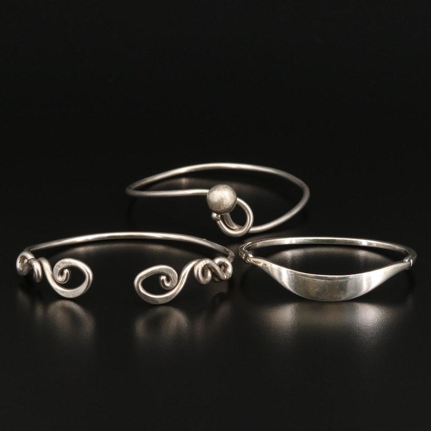 Selection of Sterling Silver Bangle Bracelets