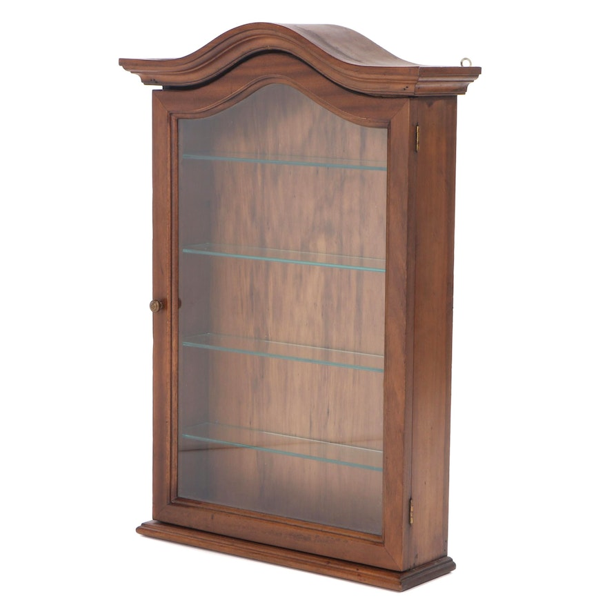 Wood Wall Hanging Display Cabinet with Glass Shelves