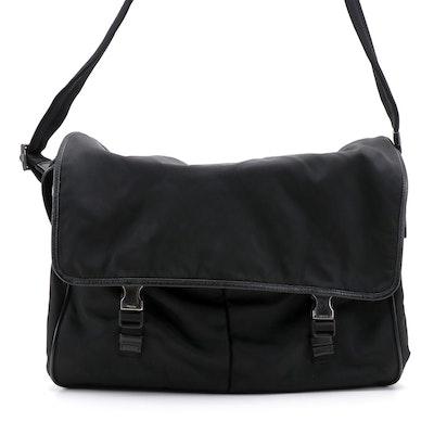 Prada Messenger Bag in Black Nylon with Saffiano Leather Trim