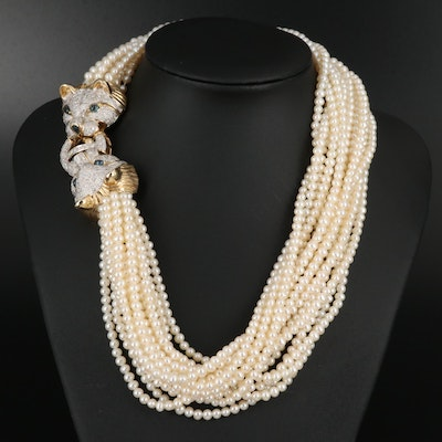 Bellarri 14K Multi-Strand Pearl, 1.99 CTW Diamond and Sapphire Cat Necklace