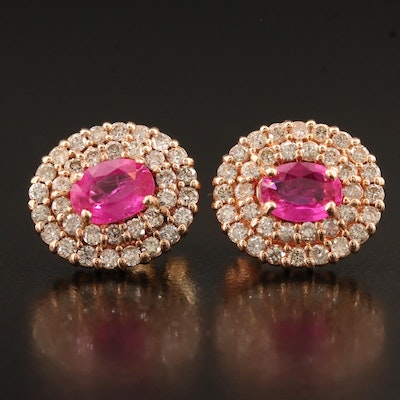 14K Rose Gold Pink Sapphire Earrings with 1.19 CTW Diamond Halos