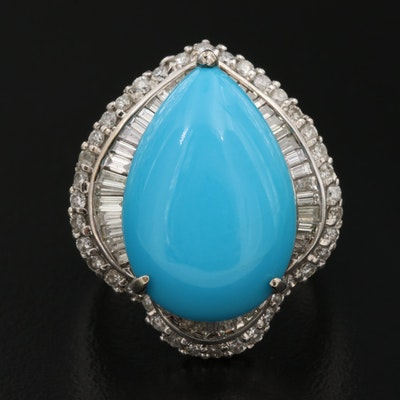 18K Turquoise Cabochon Ring with 1.25 CTW Double Diamond Halo