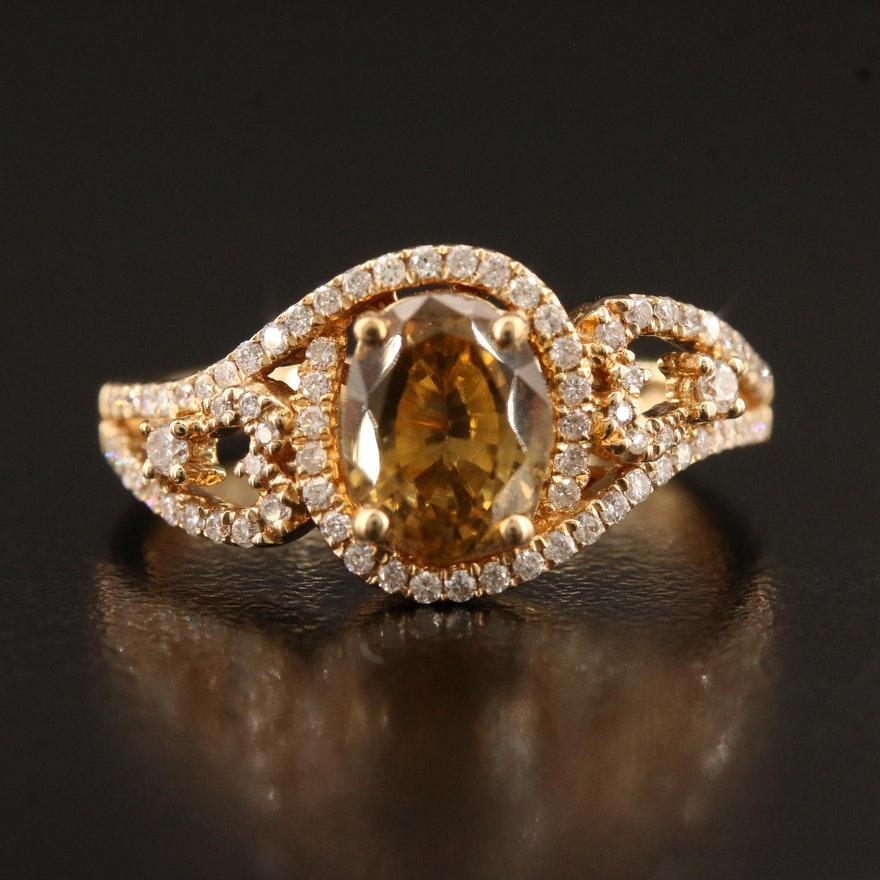 14K Zircon and Diamond Ring