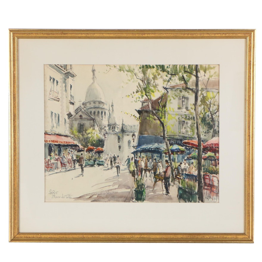 """Van Lod Watercolor Painting """"Paris, Place du Tertre"""", Late 20th Century"""