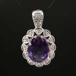 Sterling Silver Amethyst and Diamond Pendant with Milgrain Detailing