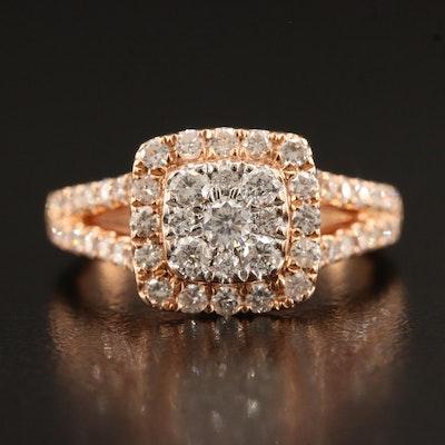 14K 1.00 CTW Diamond Ring with Split Shank