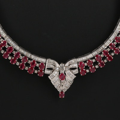 18K Ruby and 5.40 CTW Diamond Cleopatra Style Necklace