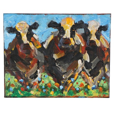Elle Raines Acrylic Painting of Cows, 21st Century