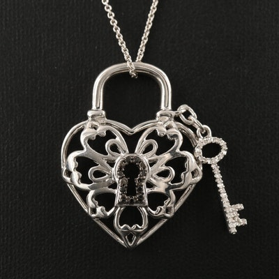Sterling Silver Diamond Heart Lock and Key Necklace
