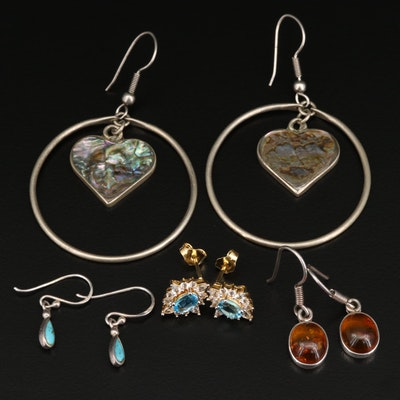Sterling Assorted Earrings Including Amber, Abalone and Topaz