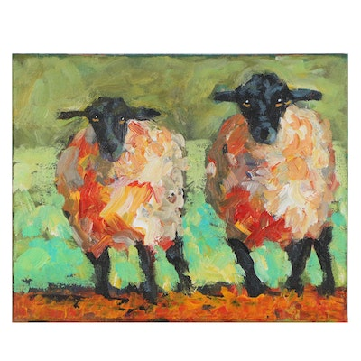 Elle Raines Acrylic Painting of Sheep, 21st Century