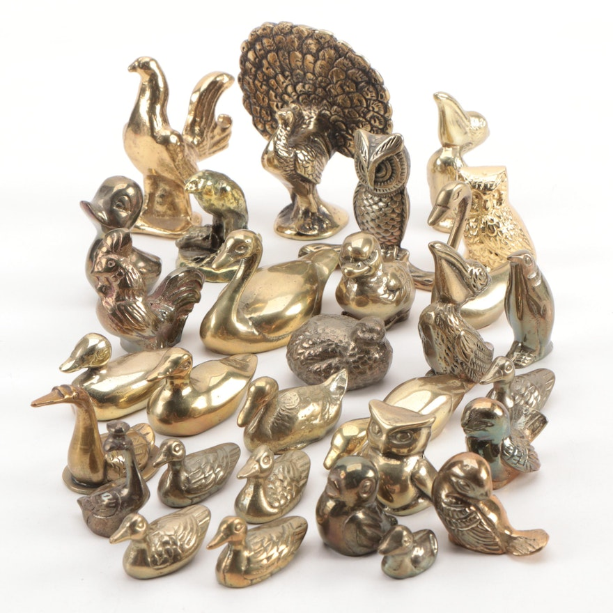 Brass Bird Figurines Including Owls and Ducks, Mid to Late 20th Century