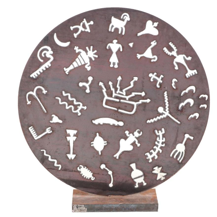 Folk Art Cut Metal Disc Sculpture