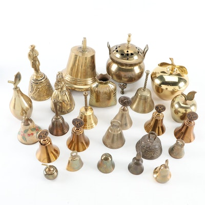 Brass Bells with Other Figurines and Decorative Boxes