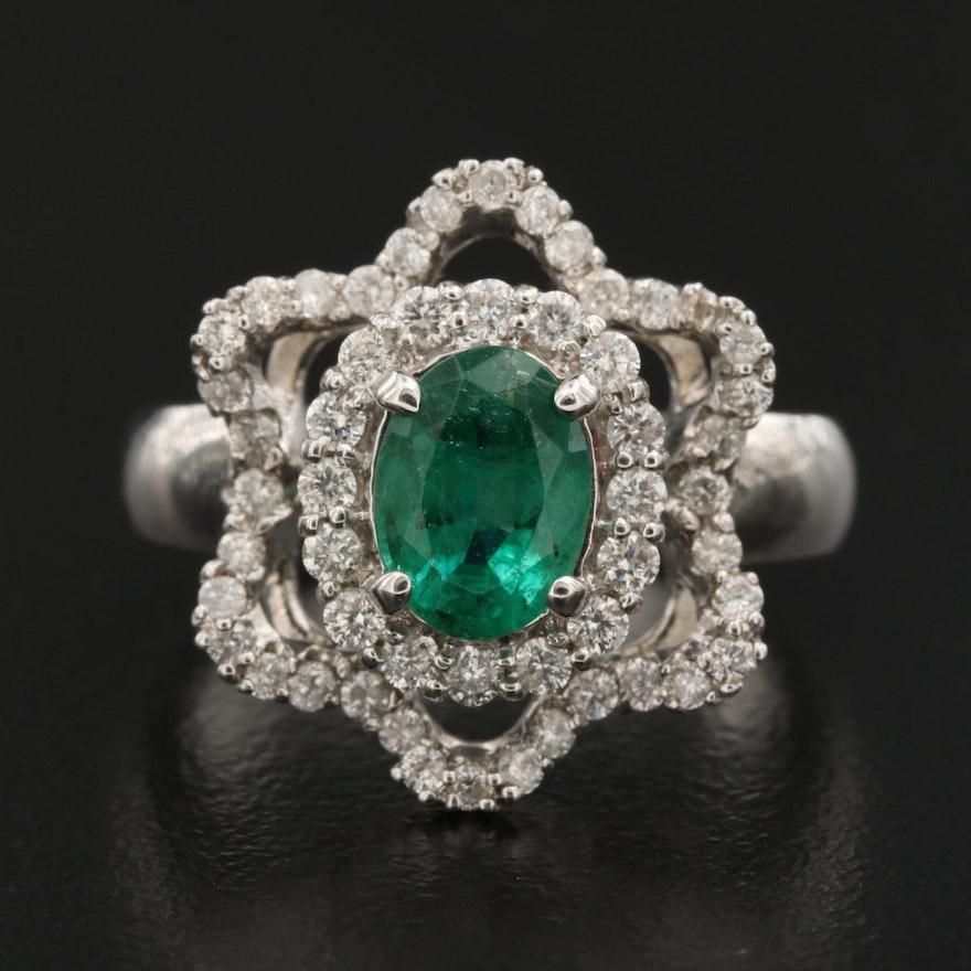 18K 1.26 CT Emerald and Diamond Ring