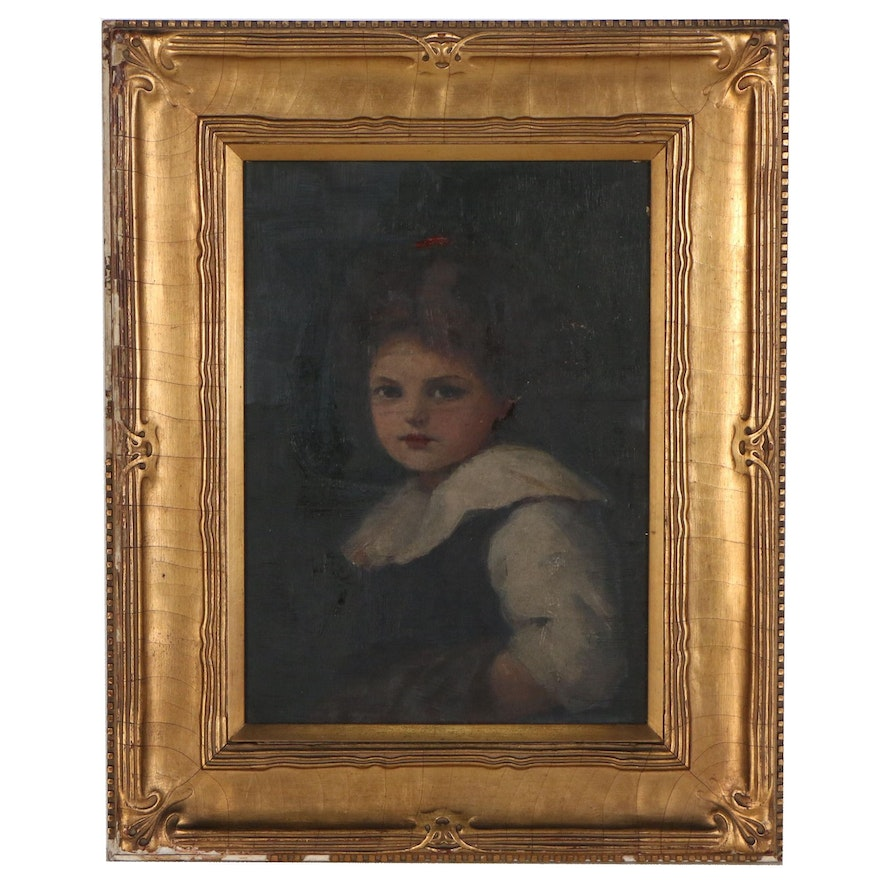 Oil Painting of Young Girl with Ruffle Collar, Early 20th Century