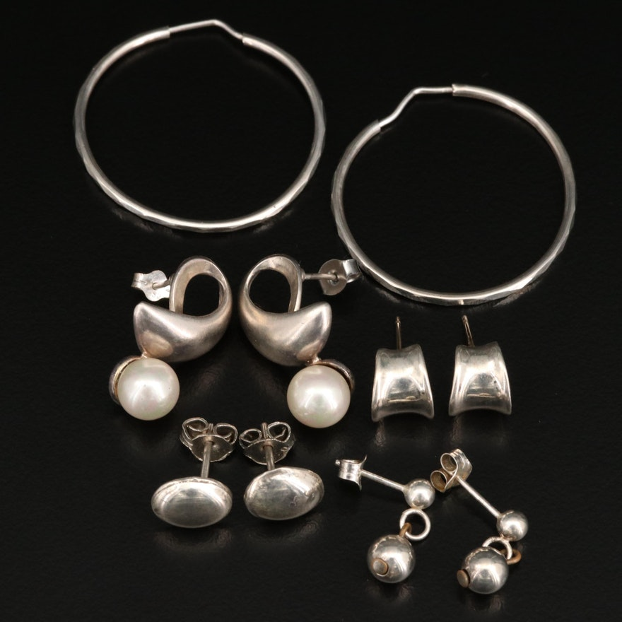 Sterling Earrings Collection of Hoops, Studs and Drops Including Faux Pearl