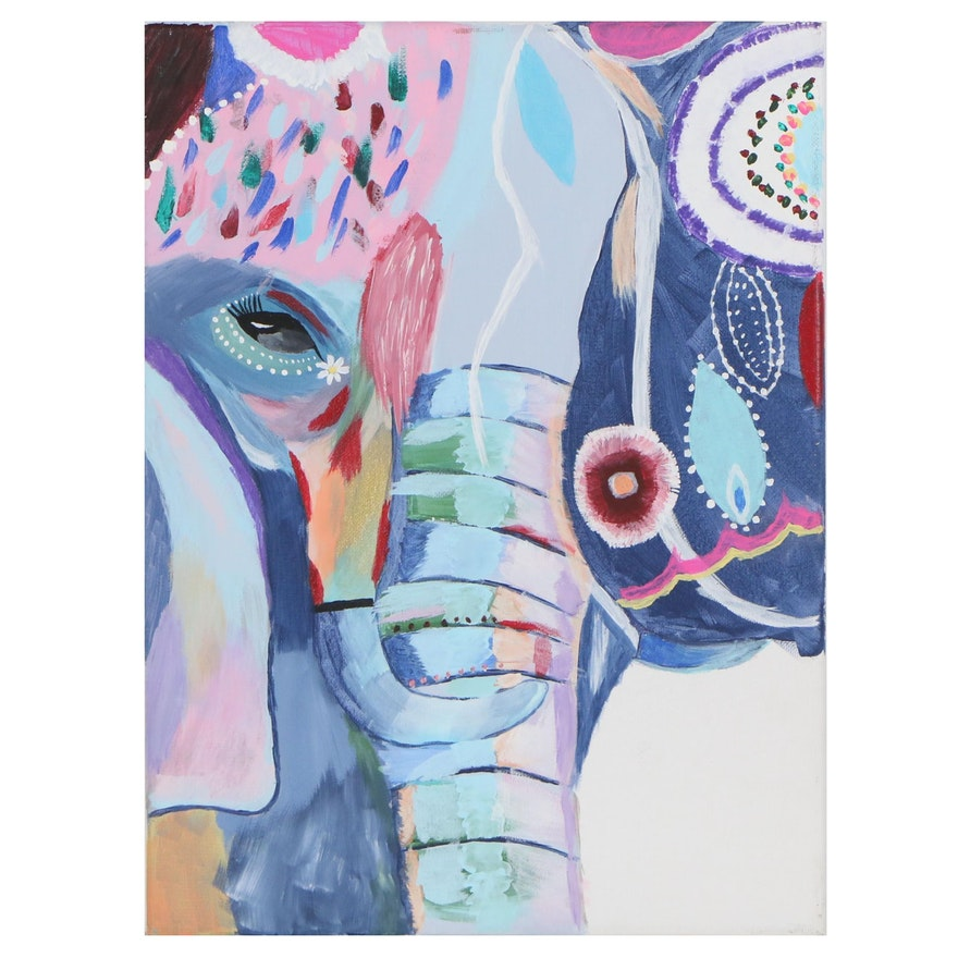 Acrylic Painting of Abstract Elephant, 2019