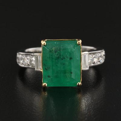 14K 4.71 CT Emerald and Diamond Ring