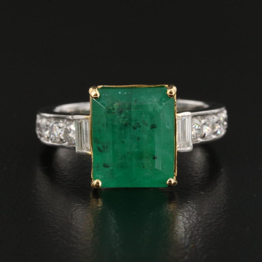 14K 4.71 CT Emerald and Diamond Ring