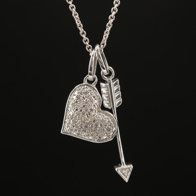 Sterling Silver Diamond Heart and Arrow Necklace