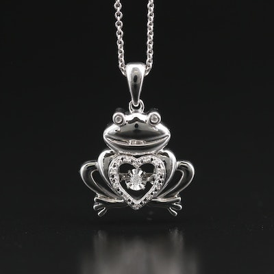 Sterling Silver Diamond Frog Pendant Necklace with Heart Shaped Center