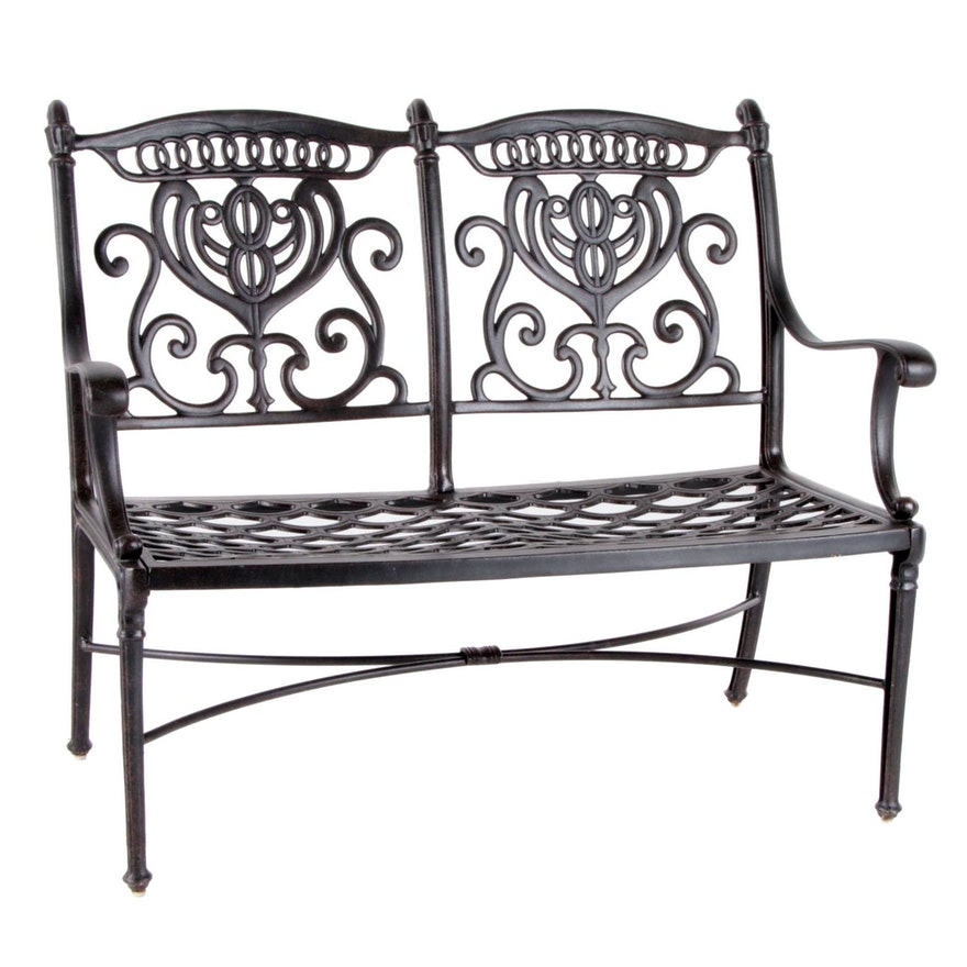 Contemporary Cast Metal Patio Love Seat