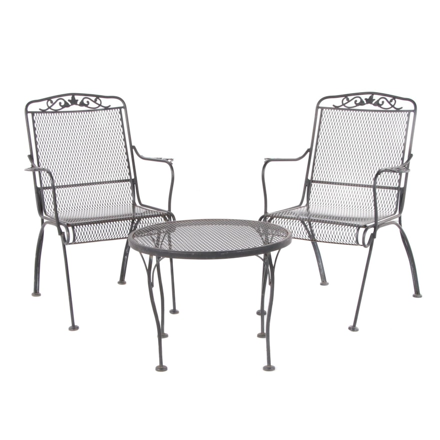 3-Piece Metal Mesh Patio Seating Group, Late 20th Century