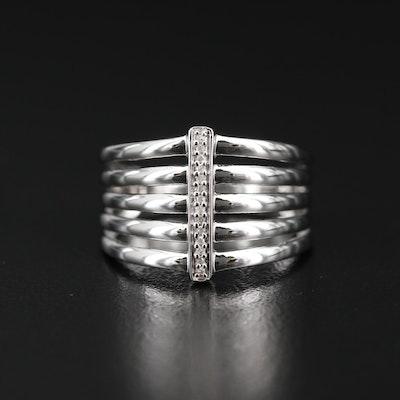 Sterling Silver Diamond Ring Featuring Split Shank Design