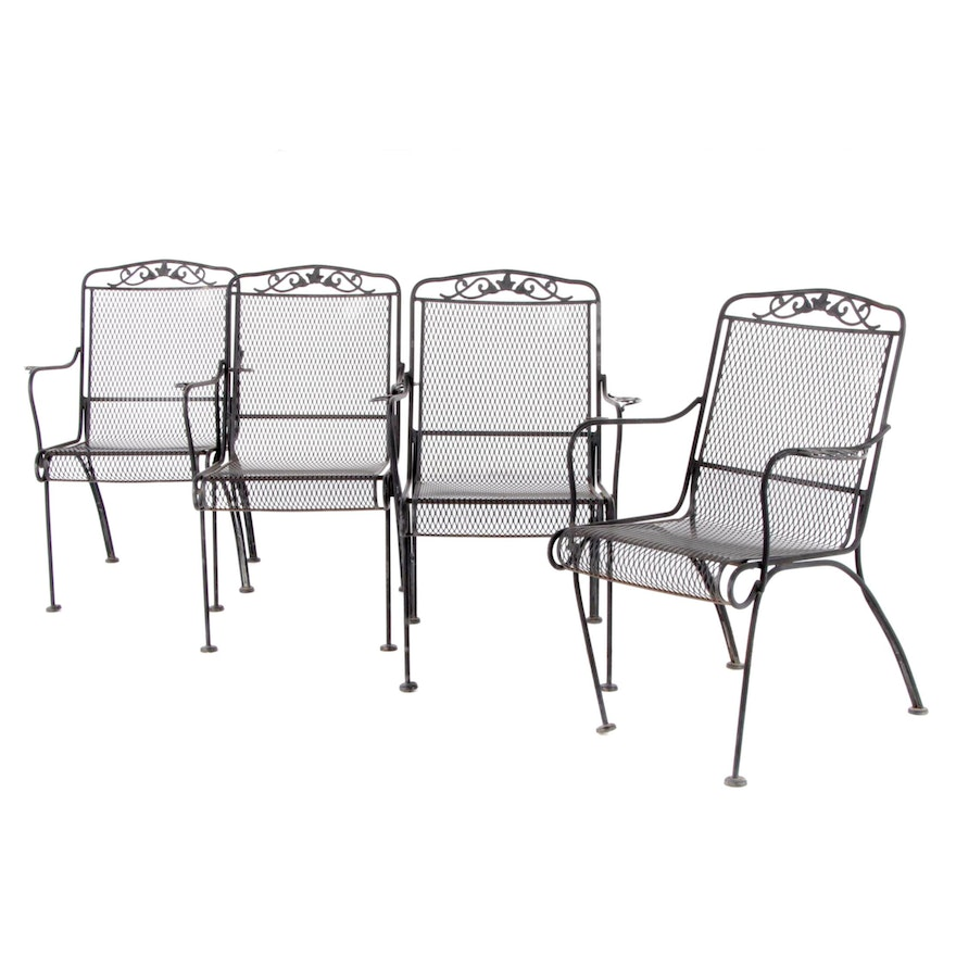 4-Piece Metal Mesh Patio Seating Group, Late 20th Century