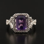 Sterling Silver Amethyst and Diamond Halo Ring with Twisted Shoulders
