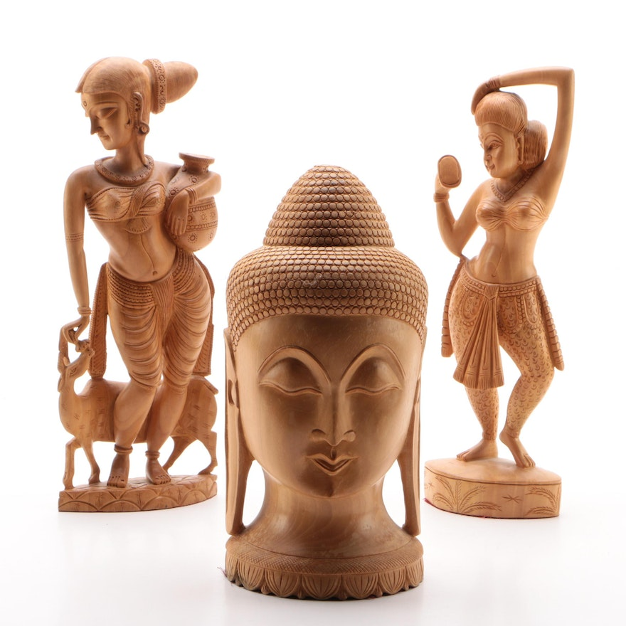 Indian Wood Carved Devī Figurines and Buddha Head, Contemporary
