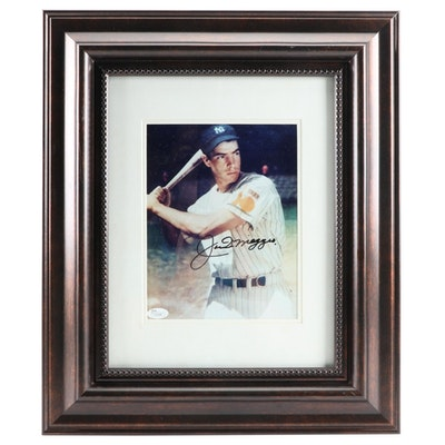 Joe DiMaggio Signed New York Yankees Framed Photo Print, JSA Full Letter