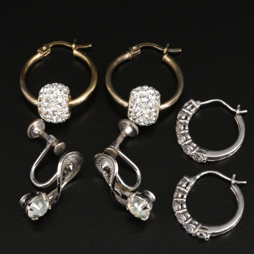 Sterling Silver Earrings Featuring Rhinestones and Cubic Zirconia
