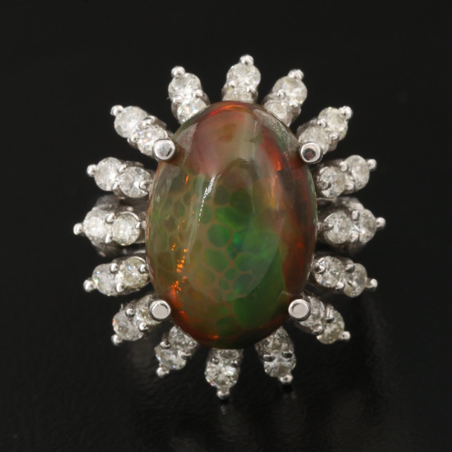 14K 7.31 CT Digit Opal and Diamond Ring