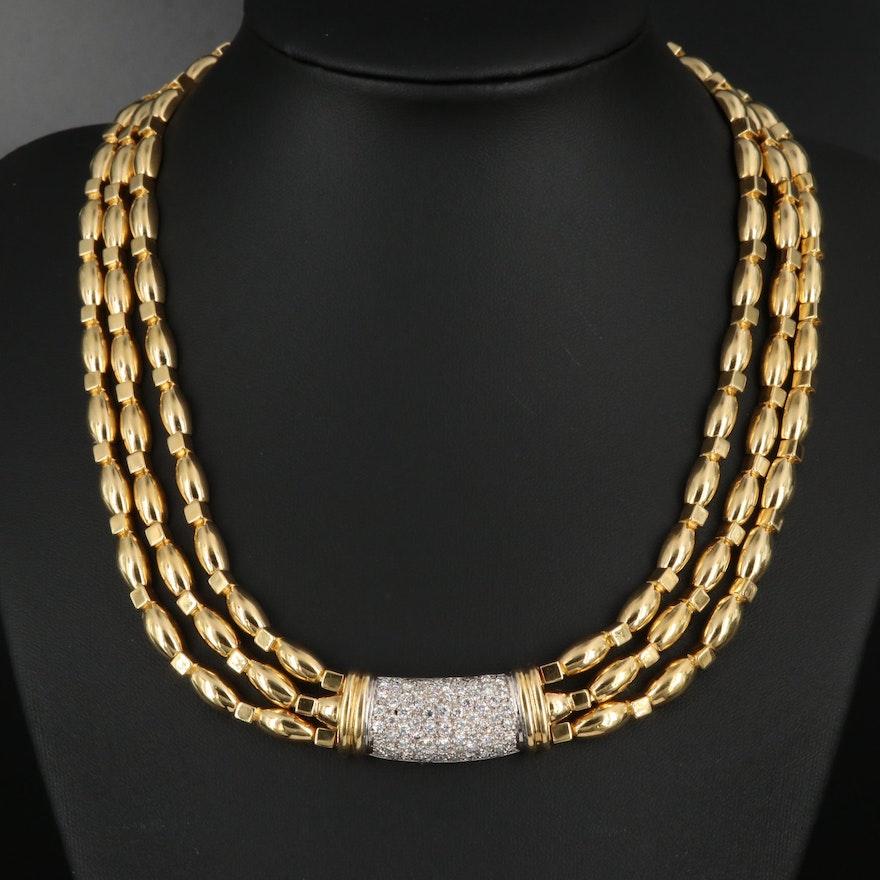 18K 1.77 CTW Diamond Triple Strand Necklace