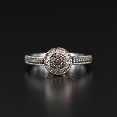 Sterling Silver Diamond Ring with Rose Gold Accents