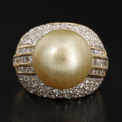 18K Pearl and 2.45 CTW Diamond Statement Ring