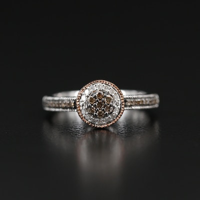 Sterling Silver Diamond Cluster Ring with Channel Shoulders